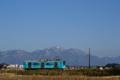 近江鉄道 水色電と湖東三山の雪化粧