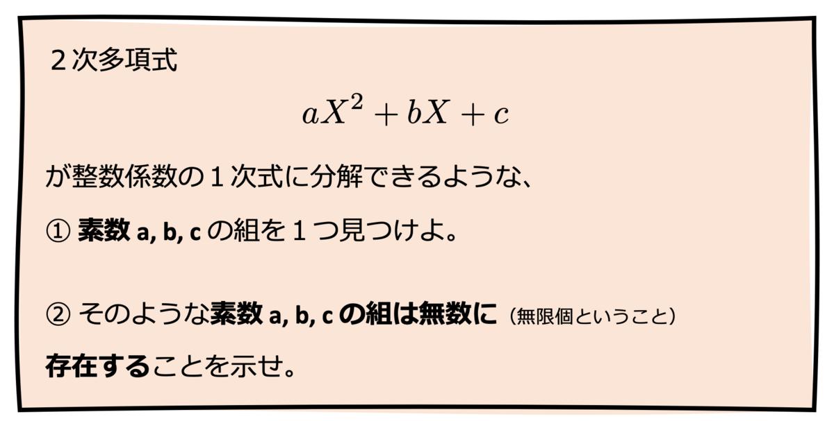 2次多項式aX^2+bX+cが整数係数の1次式に分解できるような、①素数a, b, cの組を1つ見つけよ。②そのような素数 a, b, c の組は無数に(無限個ということ)存在することを示せ。