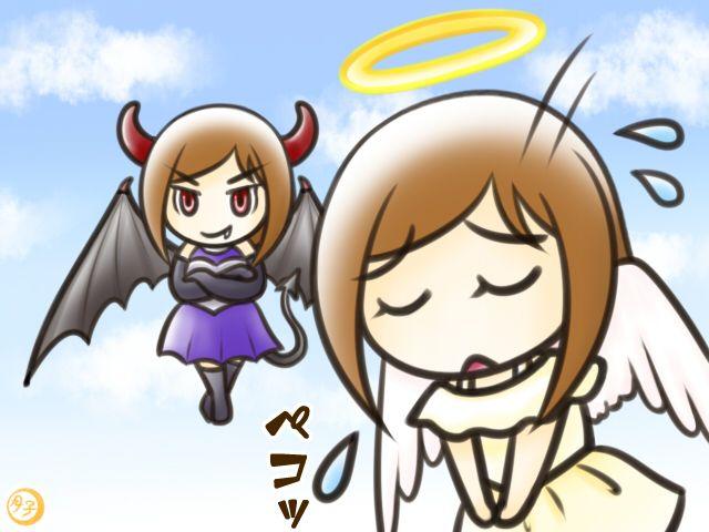 ADHD イラスト 天使と悪魔(天使の謝罪)