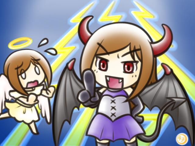 ADHD イラスト 天使と悪魔(悪魔の嘲笑)