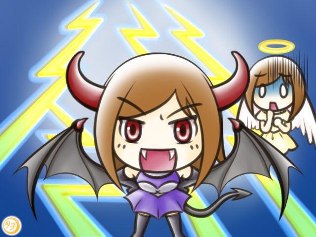 ADHD イラスト 天使と悪魔(悪魔の嘲弄)