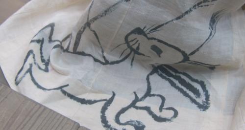 望月東庵の着物の柄のウサギ