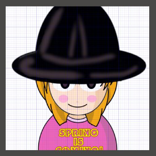 大きな帽子をかぶった女の子