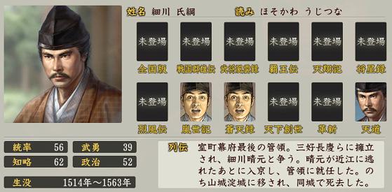 信長の野望・創造 戦国立志伝における細川氏綱