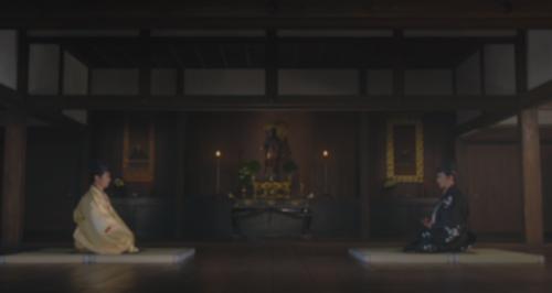 正徳寺(聖徳寺)の会見で対面する織田信長と斎藤利政(道三)
