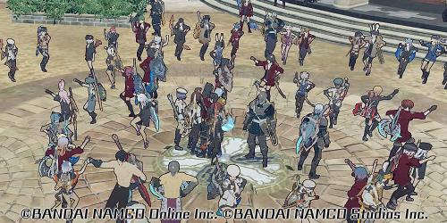 中央広場で踊り狂うBLUEPROTOCOLプレイヤーたち