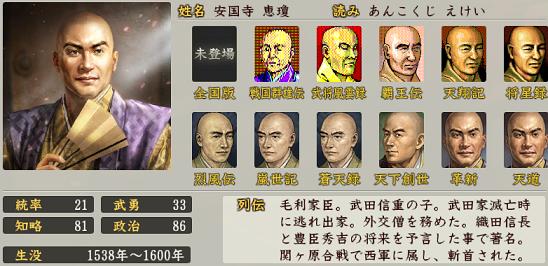 信長の野望・創造 戦国立志伝における安国寺恵瓊