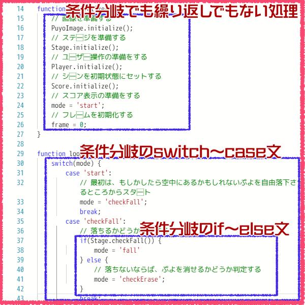 ぷよぷよプログラミングのコード中にある条件分岐文