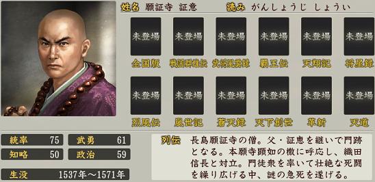 信長の野望・創造 戦国立志伝における願証寺証意