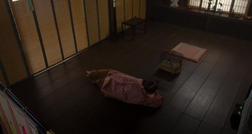 阿君丸が大事にしていた忠太郎を眺める朝倉義景