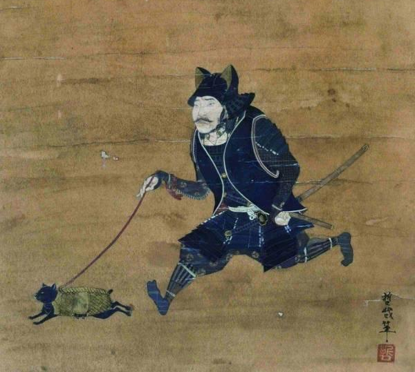 猫兜の武者と鎧をまとった猫