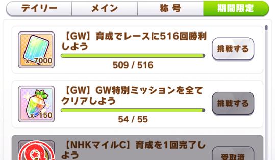 GW期間限定ミッションの進捗状況