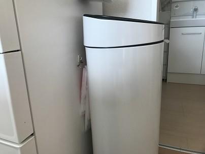 冷蔵庫にゴミ袋を壁掛けした写真