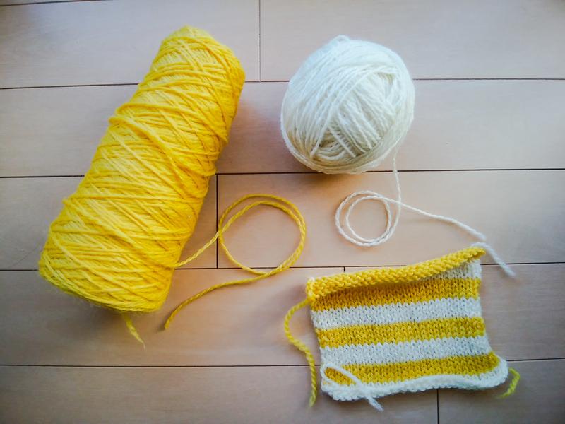 使用する毛糸とスワッチの画像