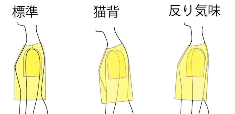 同じ服を姿勢の違う人が着ると見え方が変わる・横から見た図