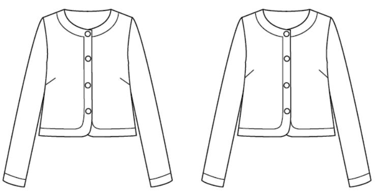 胸のダーツの方向の比較