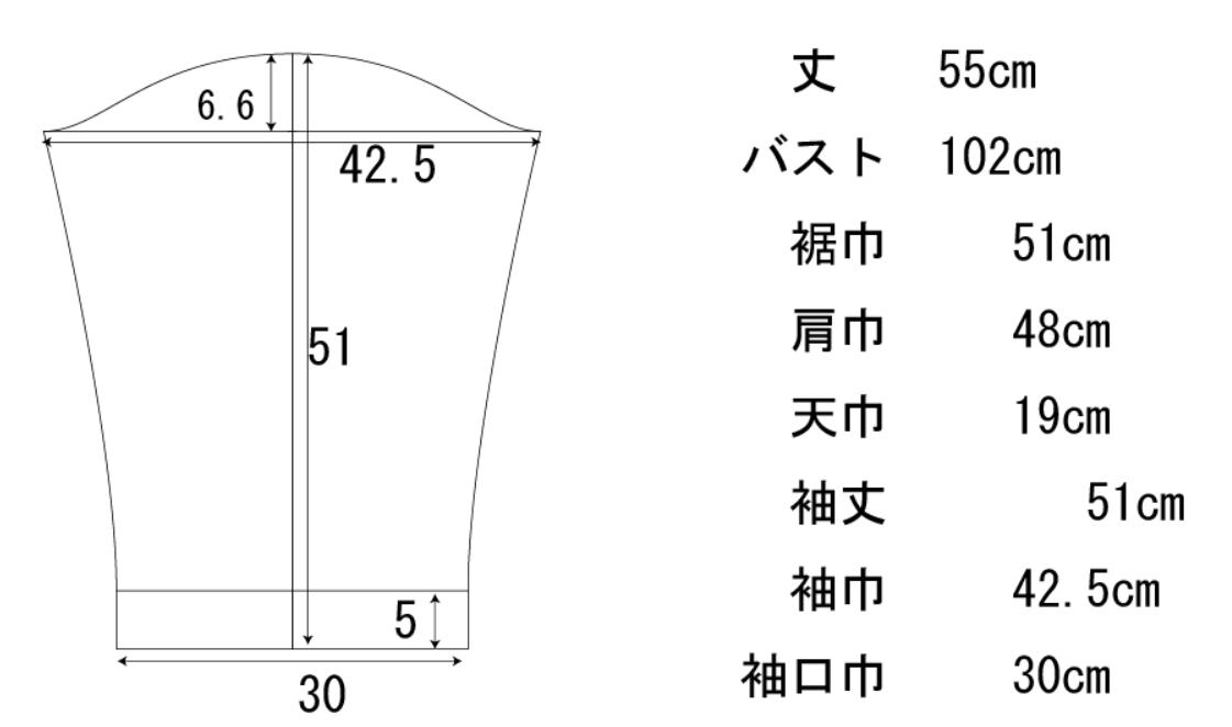 カーディガンの袖の製図とサイズ