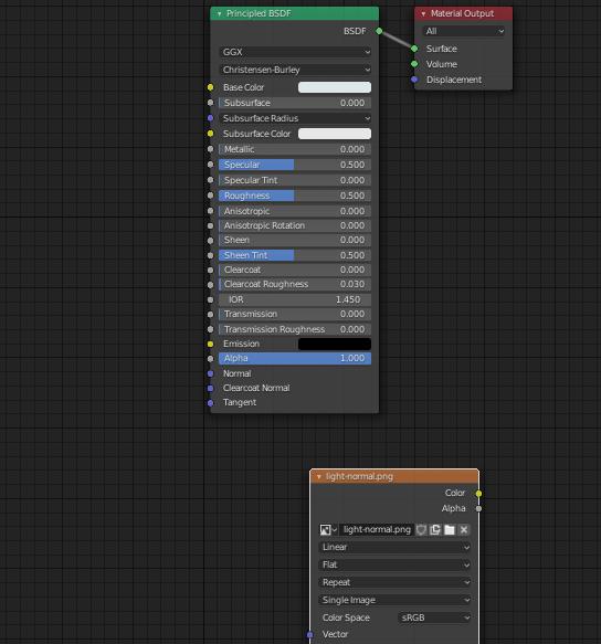 shader editorでTexture nodeに先ほどの保存した画像を設定している