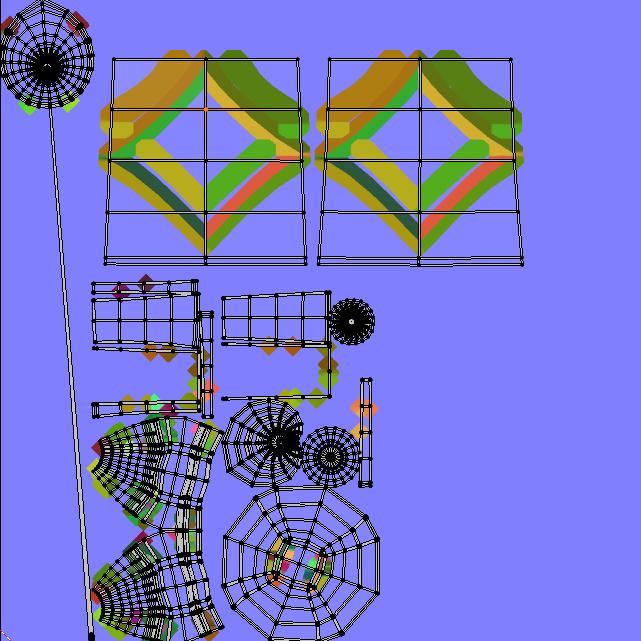 全体UVmapにベイクして失敗した画像