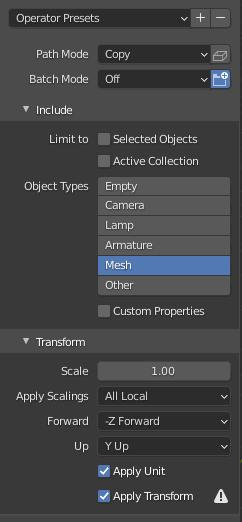 Blenderのエクスポート設定