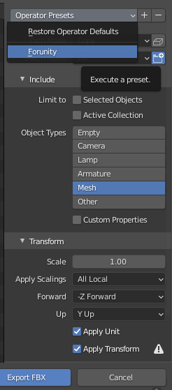 Blenderエクスポートのプリセット