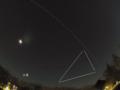 夜空を貫くISS(国際宇宙ステーション) 2014/12/27 PENTAX Q+03Fisheye