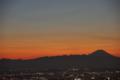夕暮れの富士山と金星と水星 2015/1/4 都庁展望室