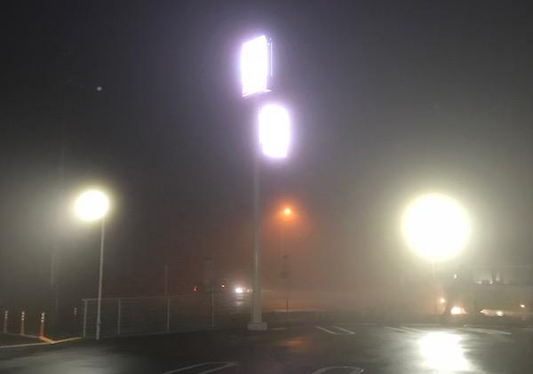 下道で帰ろうとしたら凄い霧に巻き込まれたの図