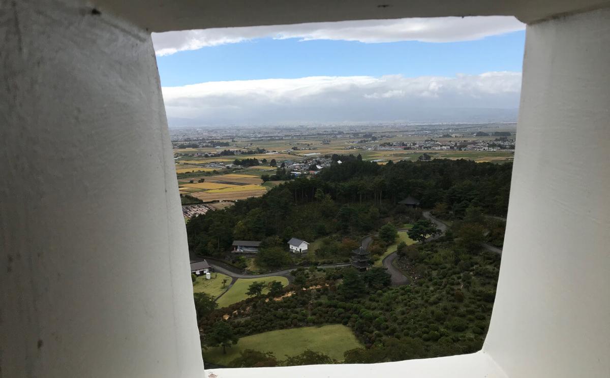 会津の巨大観音からの眺め