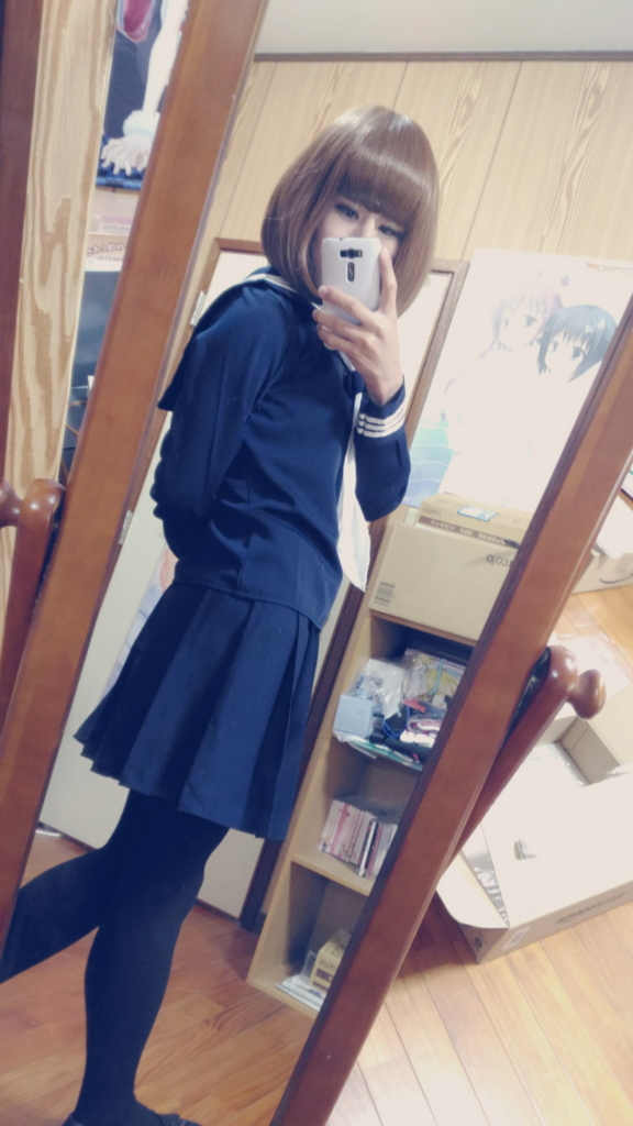 セーラー服女子高生姿(女装)