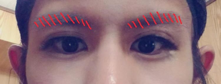 眉毛をカット