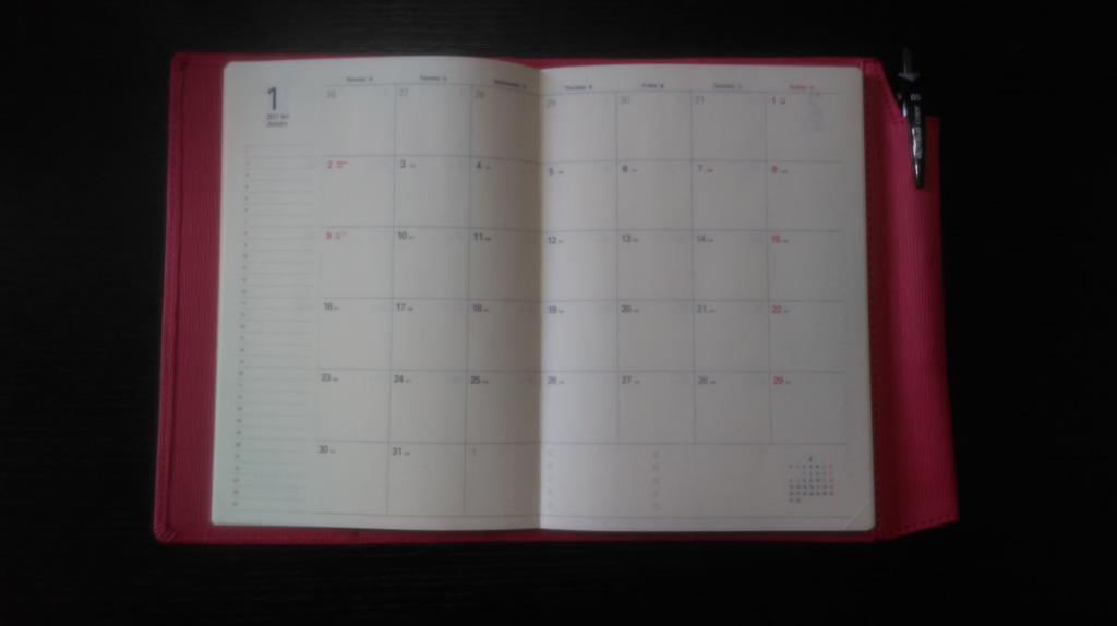 スケジュール帳のメモ欄