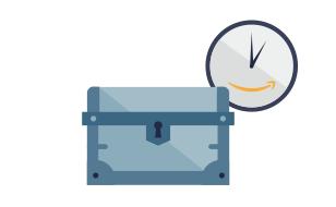 宝箱と時計のイラスト