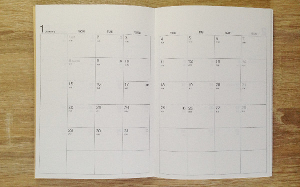 無印良品の手帳のマンスリーページ