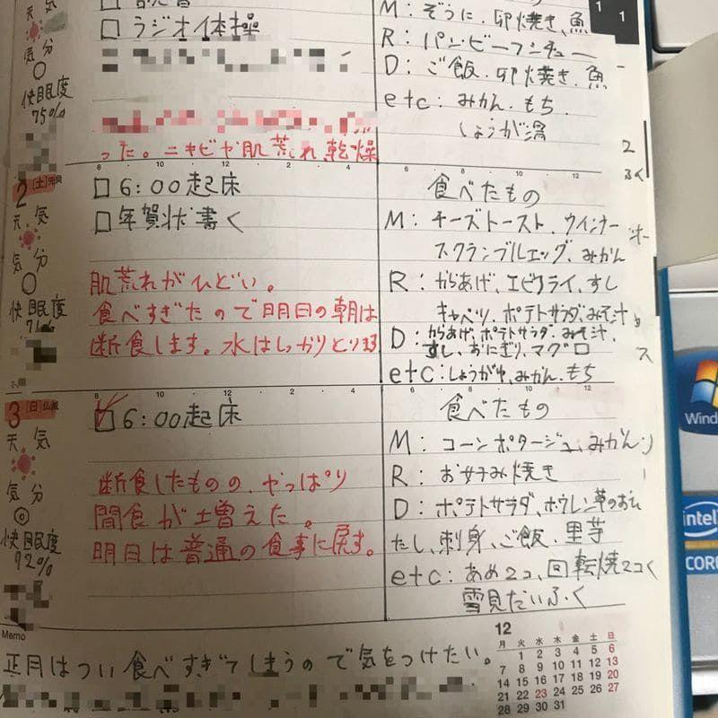 高橋手帳 食事記録
