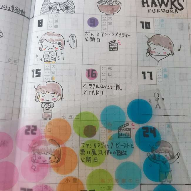 ジブン手帳mini マンスリー ダイソーシール