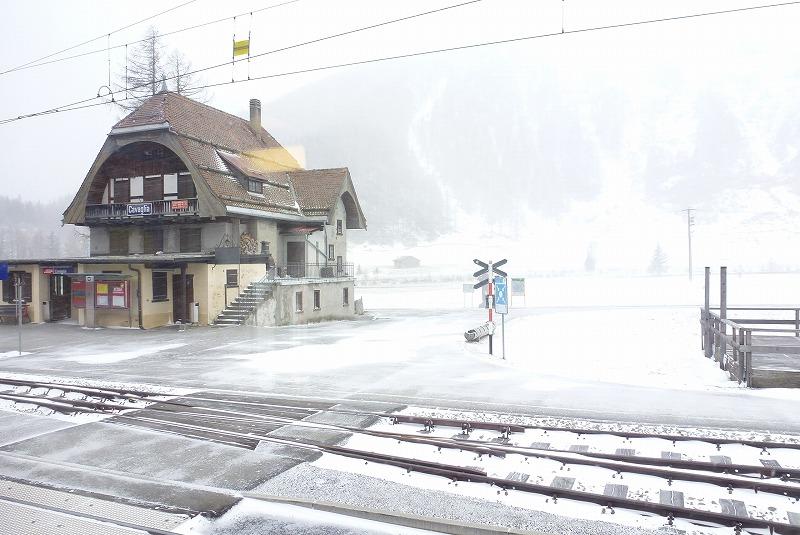 ベルニナ線 車窓 雪景色