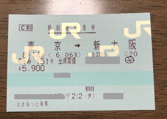 東京新大阪新幹線切符