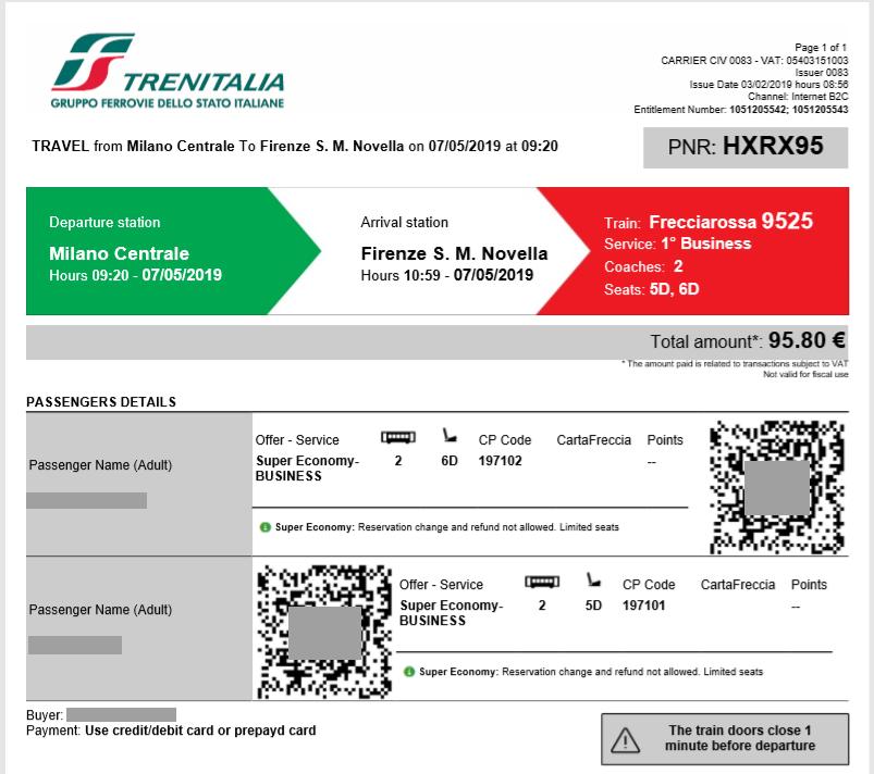 ミラノ⇒フィレンツェチケット
