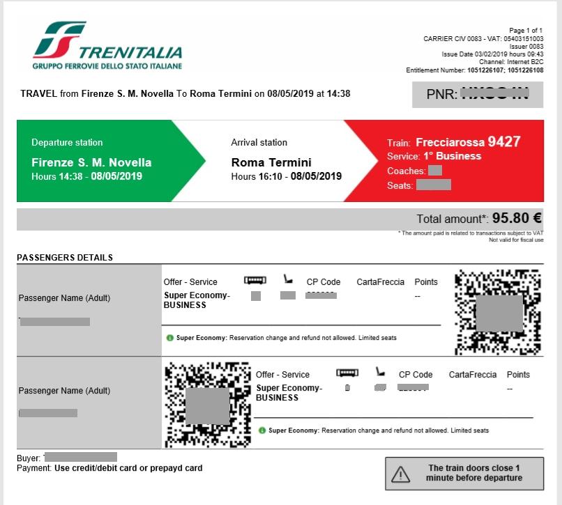 フィレンツェ→ローマ乗車券