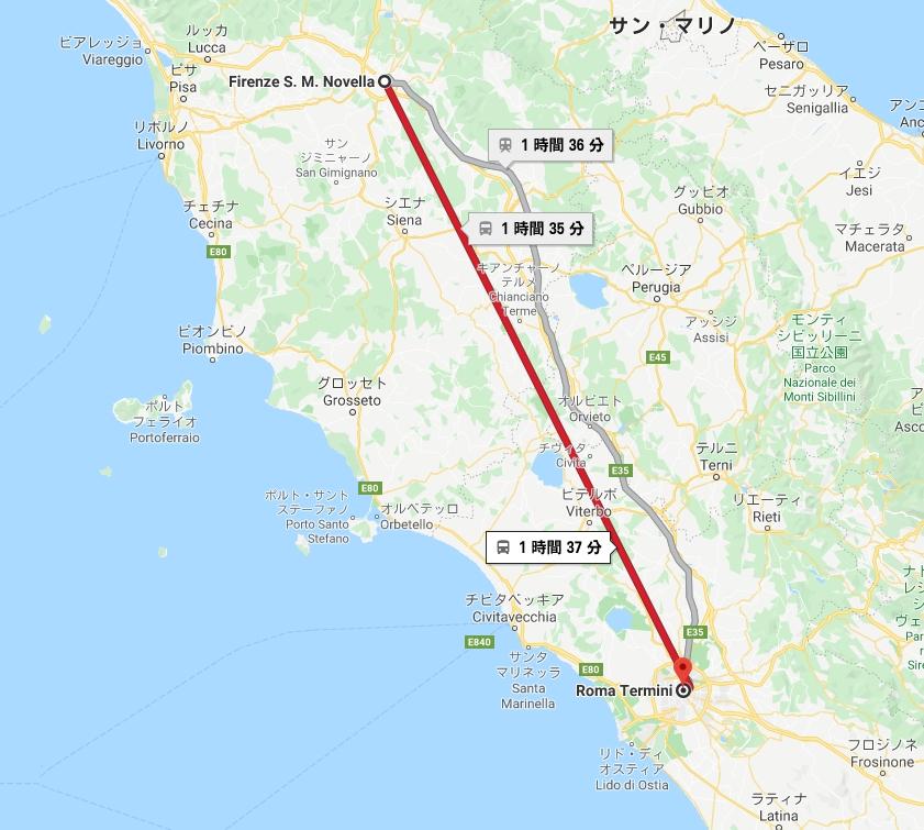 フィレンツェ→ローマ地図