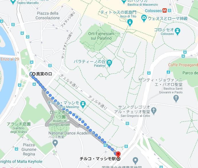 真実の口→チルコマッシモ駅