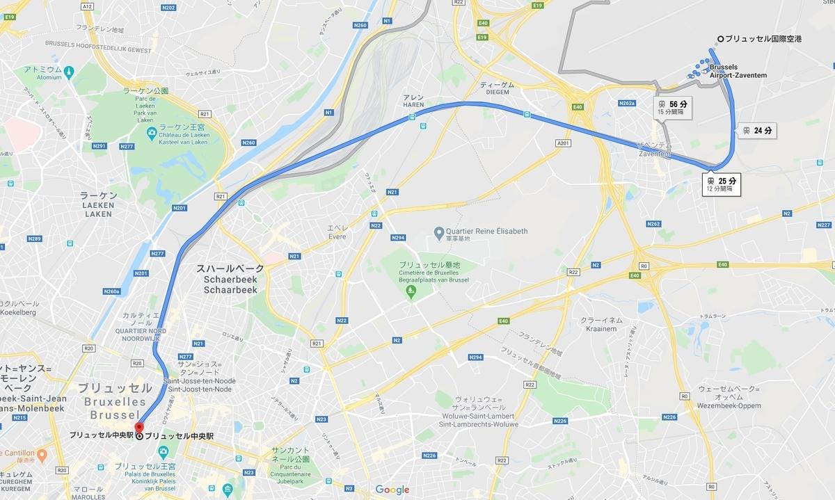 空港~ブリュッセル地図