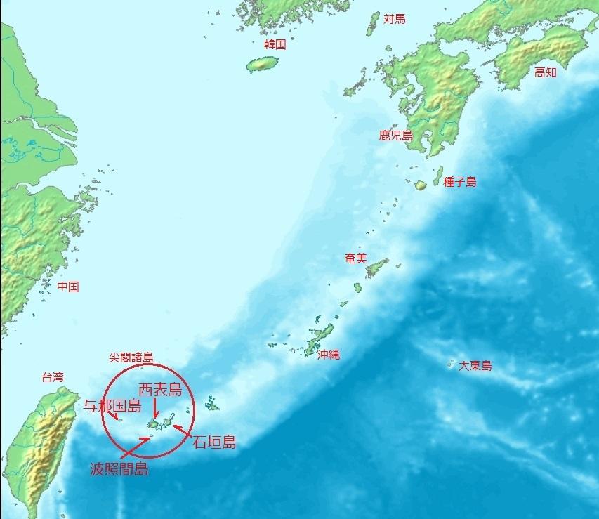 八重山諸島位置図