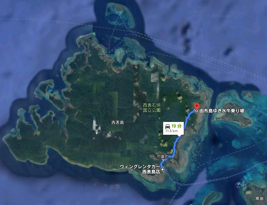 西表地図 大原港 由布島