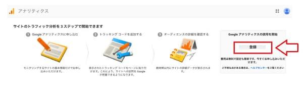 Google アナリティクスに登録していく場面の画像