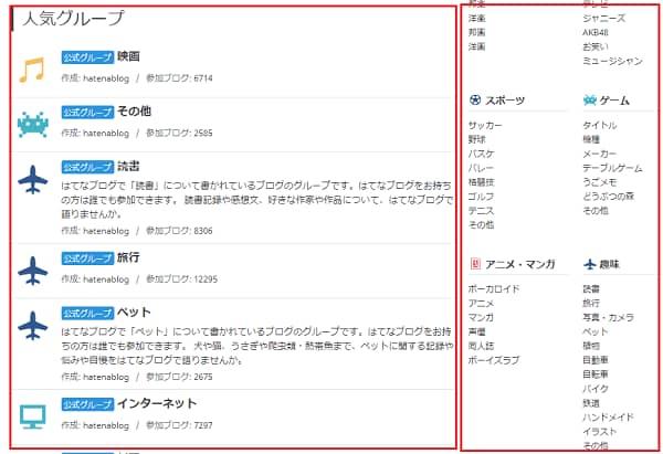 はてなブログ グループカテゴリー画面