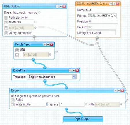 英語←→日本語の翻訳APIとして使えるYahoo Pipesを作った URL: http://muumoo.jp
