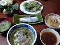 夕食鯖 の粕漬け茶漬、コノシロの酢漬け、鱈の目の天ぷら、アサリの