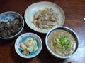 昨日の夕食大根と天ぷらツユを使った雑炊、 ポテトサラダ、豚肉と玉